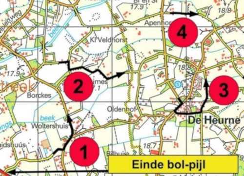 Voorbeeld aanduiding pijl korste route